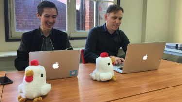 Crossy Road developers Matt Hall (on the right) and Andy Sum