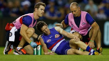 Successful surgery: Bob Murphy was injured in the final stages of the Dogs' loss to Hawthorn.
