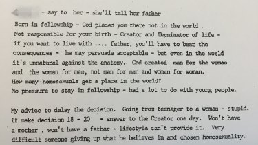 Notes from a meeting in which Exclusive Brethren leader Bruce D. Hales tells a young girl she should not live with her father because he is homosexual.