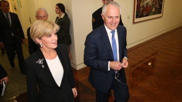 Prime Minister designate Malcom Turnbull and Deputy Liberal leader Julie Bishop emerge successful after the leadership ballot.
