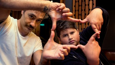 <i>Hunt for the Wilderpeople</i> director Taika Watiti and child actor Julian Dennison.