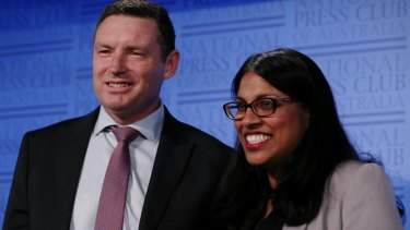 "Karina Okotel and Lyle Shelton, of the Australian Christian Lobby, during the ""Same-Sex Marriage - The No Case"" speeches at the National Press Club."