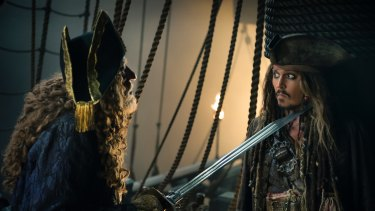 Geoffrey Rush as Barbossa, left, opposite Johnny Depp's Captain Jack Sparrow in Pirates of the Caribbean: Dead Men Tell No Tales.