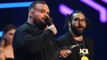Briggs and Trials from A.B. Original accept the ARIA for Best Independent Release during the 31st ARIA Awards at The Star, in Sydney.