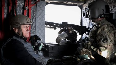 Prime Minister Malcolm Turnbull in a helicopter over Kabul earlier this year.