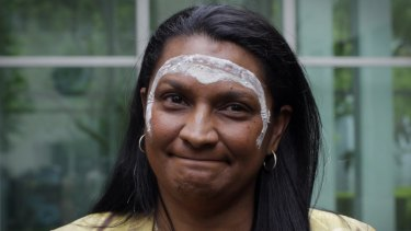 Former senator Nova Peris during an Indigenious blessing ceremony at Parliament House in 2013.