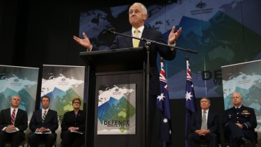 Prime Minister Malcolm Turnbull and Defence chiefs at the launch.