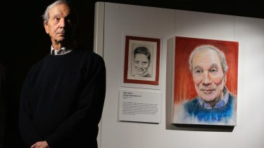 A new exhibition on child Holocaust survivors includes  Dr Paul Valent (seen with portraits of himself as a child and an adult).