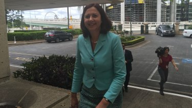 Labor leader Annastacia Palaszczuk arrives at Parliament House for her meeting with independent MP Peter Wellington on Wednesday.