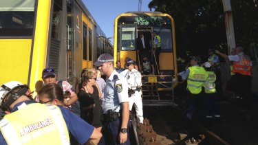 Passengers are evacuated from the derailed train at Edgecliff in January last year.