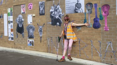 Artist Larissa MacFarlane with the artwork that was later removed by the council.