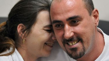 Serge Atlaoui, a Frenchman on death row in Indonesia, with his wife, Sabine Atlaoui, during one of her visits to Nusakambangan prison island.