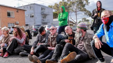 Squatters protest attempts to evict them from Bendigo St in Collingwood.