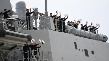 Ahoy there: The crew of the HMAS Hobart.