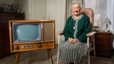 Carmel Young with her original 1956 AWA television, one of 100 iconic products from the 20th century that will feature in an exhibition at Myer from this week.