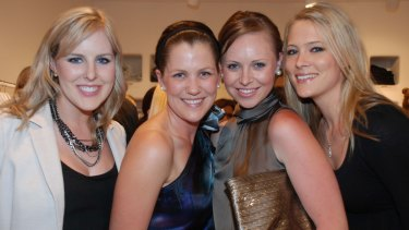 Julie Snook (second from right) out on the town with mates in Canberra in 2010.