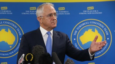 Prime Minister Malcolm Turnbull during a press conference after he visited the Space start-up hub in Cairns on Wednesday.