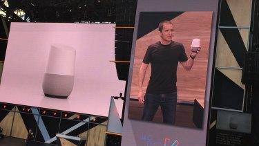 Google VP Mario Queiroz unveils Google Home.