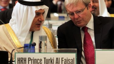Saudi Arabia's former intelligence chief Prince Turki al-Faisal, left, with then Australian foreign minister Kevin Rudd  at the Manama Dialogue in Bahrain in December 2010.