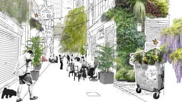 An artists impression of the greening plan for Meyers Place.