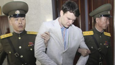 American student Otto Warmbier, 21, leaves the Supreme Court in Pyongyang on Wednesday.