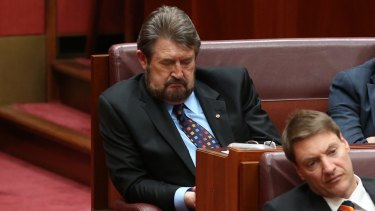 Derryn Hinch was caught snoozing during the Governor-General's speech on the opening day of Parliament. The photo would have been illegal if taken on any other day.