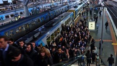 Commuters battle congestion at Southern Cross Station earlier this year.