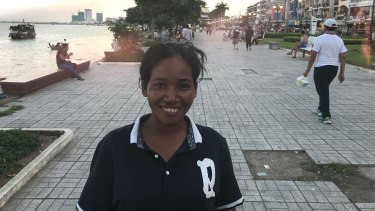Yem Chanthy on the riverfront of the Cambodian capital where Australian filmaker James Ricketson was arrested.
