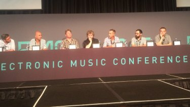 Panellists discuss the lockout legislation at the Electronic Music Conference in Sydney on Tuesday.