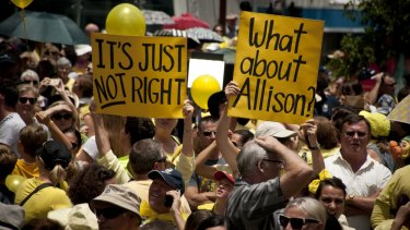 Thousands attended a rally for Allison Baden-Clay in King George Square after the Court of Appeal decision.