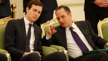 Jared Kushner talks with White House chief of staff Reince Priebus during US President Donald Trump's visit to the Saudi capital Riyadh in May.