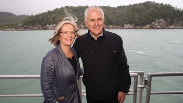 Prime Minister Malcolm Turnbull and his wife Lucy on board the sealink off Magnetic Island near Townsville.