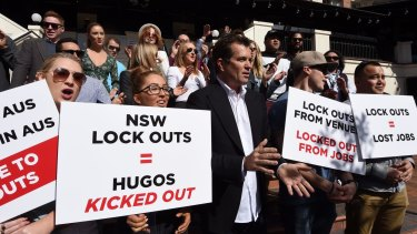 Hugos owner Dave Evans and staff of Hugos in Kings Cross picket after closing in August. The restaurateur blamed the closure on the impact of lockout laws.
