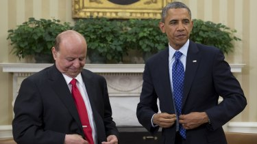 Yemen Pesident Abed Rabbo Mansour Hadi with US President Barack Obama during a meeting in Washington in 2013.