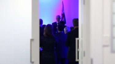 Prime Minister Malcolm Turnbull addresses a fundraiser at the headquarters of senator Cory Bernardi's Conservative Leadership Foundation in June.