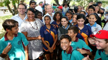 Opposition Leader Bill Shorten with Senator Nova Peris during a National Sorry Day event in Darwin on Thursday.