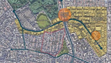"""Lane Cove mayor Pam Palmer said St Leonards South (marked in the red boundary) was declared a Priority Precinct in June 2017 """"so obviously is being considered for a zoning change""""."""