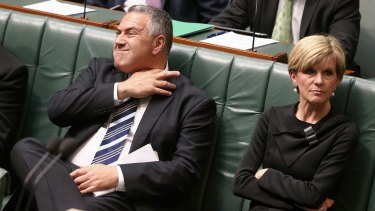 Former treasurer Joe Hockey and Foreign Minister Julie Bishop last month.