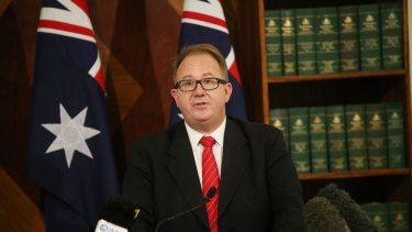 David Feeney announces his resignation at a press conference in Melbourne.