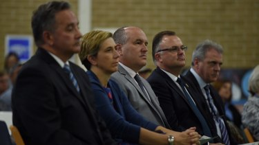 NSW Corrections Minister David Elliott (third from left) during the Girrakool School presentation day ceremony at the Frank Baxter Juvenile Justice Centre.