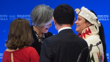 Deanna Lewis of Squamish First Nation, right, meets with Canadian Minister of Foreign Affairs Chrystia Freeland, from left, South Korean Foreign Minister Kang Kyung-wha and Japan Foreign Affairs Minister Taro Kono.
