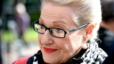 Defiant: Bronwyn Bishop attends a memorial service at the Sydney War Memorial on Sunday to commemorate the Battle of Fromelles.