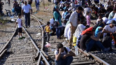 Migrants cross the Greece-Macedonia border. Immigrants are entering Europe at a rate of about 3000 a day, and the EU doesn't know what do about it.