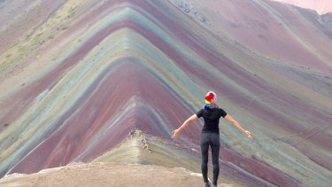 Surreal rainbow-striped mountains in Peru.
