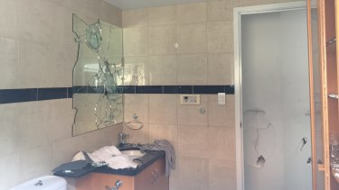 The smashed-up bathroom