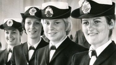 1973 Police Academy graduates (from left) Gwen Gillam, Jean Harben, Mary Skahill and Helen Spilsbury.