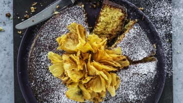 Pineapple and polenta cake.