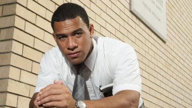 Faithful: Will Hopoate outside a Mormon Church in Brisbane during his missionary in 2012.