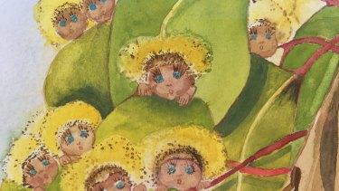 A painting by May Gibbs of the Gumnut Babies, the characters which became the focus of her popular children's books.