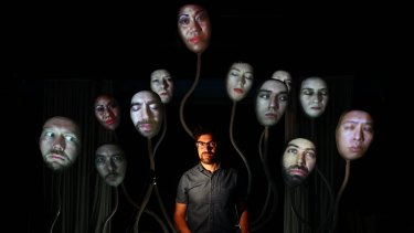 Head honcho: Mark Bolotin with his bizarre creation, the Lumiphonic Creature Choir.